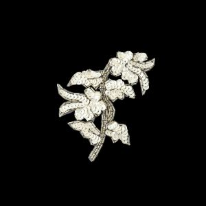 Vintage White Iris Sequins and Silver Bugle Beaded Floral Applique - 4.75