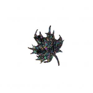 Vintage Black Iris Sequins and Bugle Beaded Small Leaf Applique - 3.75 x 3