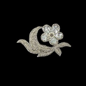 Vintage White Iris Sequins and Silver-lined Beaded Floral Applique with Rhinestone Core - 3.25