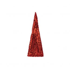 Vintage Ruby Red Sequins and Beads Triangle Applique - 4.875 x 1.875
