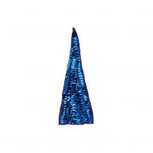 Vintage Magnetic Blue Sequins and Beads Triangle Applique - 4.875 x 1.875