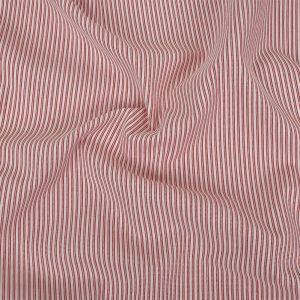Red and White Tactile Stripes Stretch Cotton and Polyester Woven