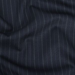 Dusty Blue Stretch Wool Suiting with Sky Blue and Aqua Pinstripes