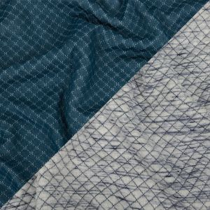 White and Mood Indigo Striated Diamond-Stitched Knit Quilted Coating