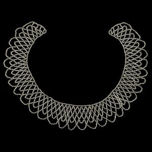 Vintage Silver-lined Beaded Abstract Neck Applique - 9.25