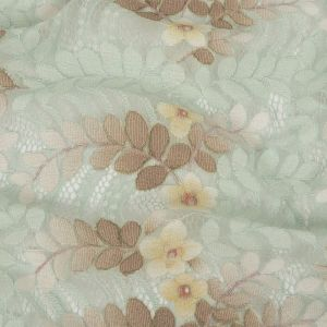 Pale Aqua, Taupe and Mellow Yellow Dyed Floral Corded Lace