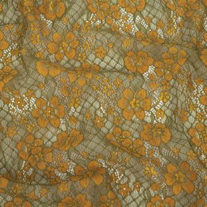 Radiant Yellow and Olive Floral Corded Lace