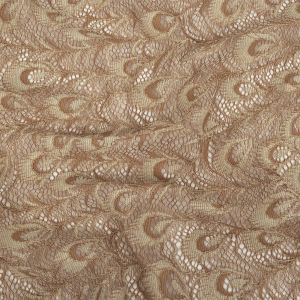 Taupe Peacock Feathers Corded Lace
