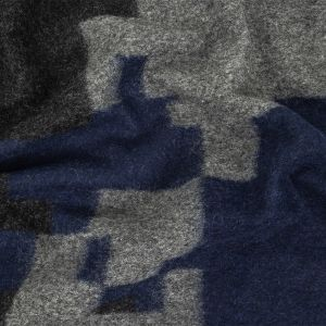 Navy, Charcoal Gray and Black Abstract Wool Double Cloth