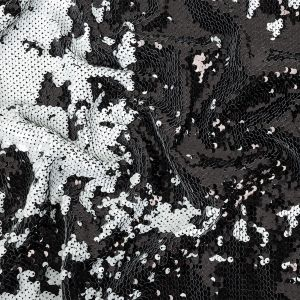 Black and White Two-Tone Reversible Sequins on Black Polyester Jersey