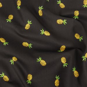 Black and Yellow Pinapples Printed Stretch Cotton Denim