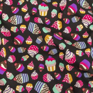 Black and Pink Cupcakes Printed Stretch Cotton Denim