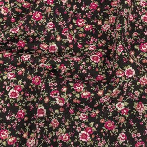 Black and Pink Minute Floral Printed Stretch Cotton Denim