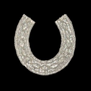 Vintage Crystal Iris Sequins and Silver-lined Beaded Collar Applique - 9.375 x 9.25