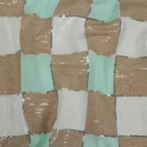 Italian Soothing Sea, Light Taupe and Lucent White Baby Sequin Squares on White Mesh
