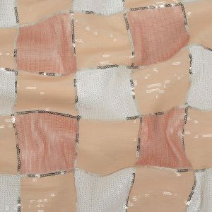 Italian Seashell Pink, Beige and White Baby Sequin Squares on White Mesh