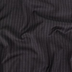 Italian Charcoal Chalk Stripes Stretch Super 100 Wool Suiting