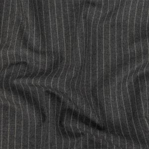 Italian Heathered Gray Chalk Stripes Wool and Cashmere Suiting