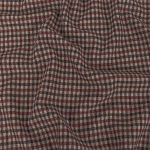 Italian Rose and Brown Tattersall Check Super 100 Wool and Cashmere Suiting