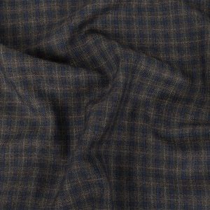 Italian Blueberry and Charcoal Plaid Wool Suiting