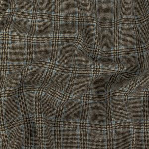 Italian Brown and Baby Blue Glen Plaid Wool and Cashmere Tweed