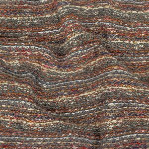 Gray, Red and Metallic Gold Striped Chunky Cotton and Wool Knit