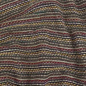 Taupe, Red and Yellow Striped Chunky Wool Knit