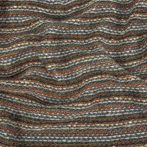 Pumpkin, Slate and Metallic Amber Ale Striped Chunky Cotton and Wool Knit