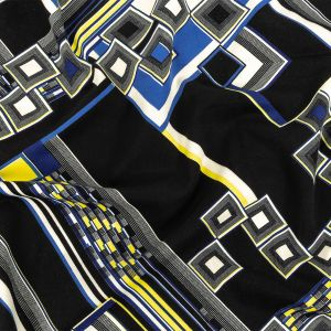 Navy, Yellow and Cobalt Geometric Stretch Brushed Cotton Twill