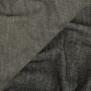 Black and Star White Basketweave Double-Face Stretch Cotton Tweed