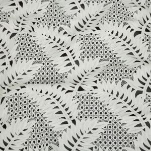 White Leafy Guipure Lace with Finished Edges