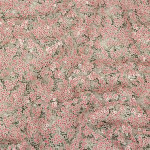 Pink, Lacquer and Satin Moss Sequin Passageways on White Mesh