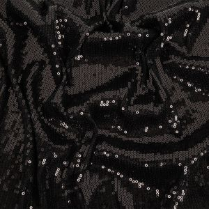Black Linear Baby Sequins on Stretch Rayon Jersey