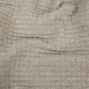 Italian Heathered Light Gray Square Quilted Cotton Knit