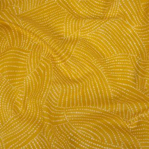 Golden Yellow and White Polka Dotted Swirls Printed Cotton Voile