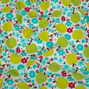 Green Glow Polka-Dotted Apples and Aqua Floral Printed Cotton Poplin