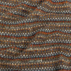 Pumpkin, Slate and Metallic Gold Striped Chunky Cotton and Wool Knit
