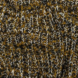 Mustard Gold, Black and Sugar Swizzle Chunky Sweater Knit with Metallic Silver Shimmer