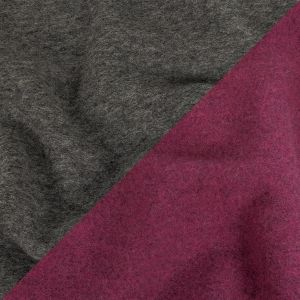 Boysenberry and Heathered Gray Double Cloth Wool Coating