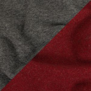 Merlot and Heathered Gray Double Cloth Wool Coating