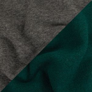 Deep Forest and Heathered Gray Double Cloth Wool Coating