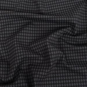 Black and Moonless Night Houndstooth Printed Stretch Ponte Knit