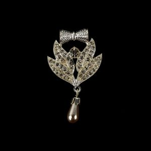 Vintage Crystal Rhinestones and Silver Metal Pearl Drop Classical Ornament with Bow - 1.625