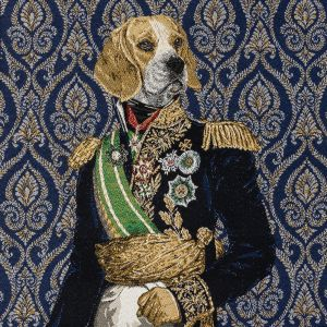 French Royal Blue Woof Marshal Cotton Blend Oversized Square Patch - 18.875