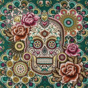 French Teal and Multicolored Sugar Mandalas Oversized Square Patch - 18.875
