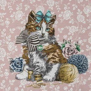 French Rose Posed with a Bow Cotton Blend Oversized Square Patch - 18.875
