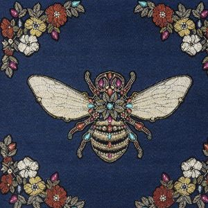 French Royal Blue Queen Bee Cotton Blend Oversized Square Patch - 18.875