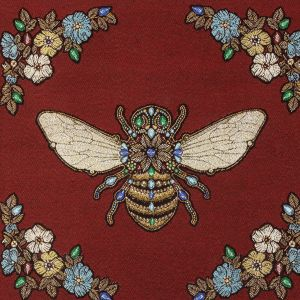 French Burgundy Queen Bee Cotton Blend Oversized Square Patch - 18.875
