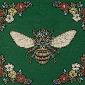 French Green Queen Bee Cotton Blend Oversized Square Patch - 18.875