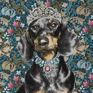 French Blue Crowned Dachshund Oversized Square Patch - 18.875